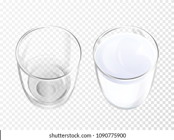 Milk glass 3D vector illustration of realistic crockery for dairy drink or yogurt top view. Isolated empty and full crystal glasses or glassware mockup template models set on transparent background