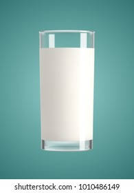 Milk in a glass on green background. Transparent realistic vector illustration.