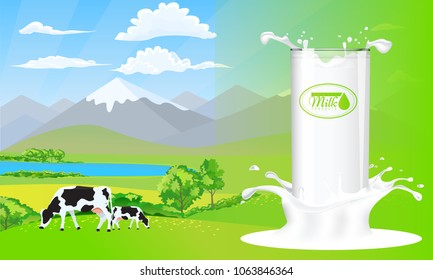 Milk glass on milk splash. Beautiful nature landscape mountain and meadow fields with cows.