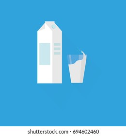 Milk glass and package icon, minimal flat design