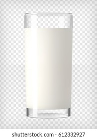 Milk in a glass. Protein rich dairy product. Transparent photo realistic vector illustration.