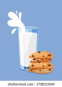 Milk glass with splashes and oat cookies concept. Vector illustration of healthy breakfast.