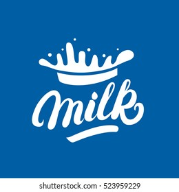 Milk hand written lettering logo, label or badge. Design elements with splashes for grocery, agriculture store, packaging and advertising. Vector illustration.