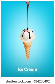 Milk ice cream cone, Pour chocolate syrup, dairy product flavor, Vector illustration