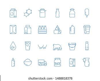 Milk icons. Bottle jars plastic containers with farm products cheeses yoghurt ice cream dairy vector milk symbols