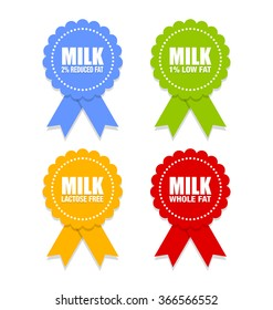 Milk icons or rosettes with ribbons that depict different types of milk on white background