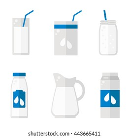 Milk isolated icons on white background. Milk bottle, glass, pack set. Flat style vector illustration.