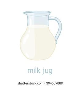 Milk jar cartoon illustration. Kitchen utensil.  Dairy production. Food  ingredients