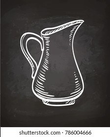 Milk jug. Chalk sketch on blackboard. Hand drawn vector illustration. Retro style.