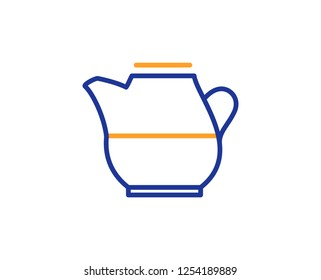 Milk jug for coffee icon. Fresh drink sign. Beverage symbol. Colorful outline concept. Blue and orange thin line color icon. Milk jug Vector