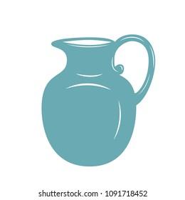Milk jug icon. Milk pitcher, jug or jar vector illustration.