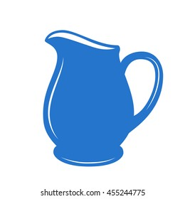 Milk jug or pitcher logo in a blue and white. Vector illustration.
