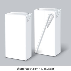 Milk or juice carton packages isolated on a background. Clean empty carton 0.2-0.25 liters for new design. Mock-up white pack of juice, yogurt or milk with drinking straw. Vector. Realistic template.