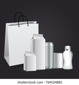 Milk or juice carton packaging package box white blank isolated. Vector