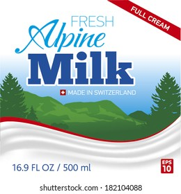 Milk label with mountains in background and milk wave