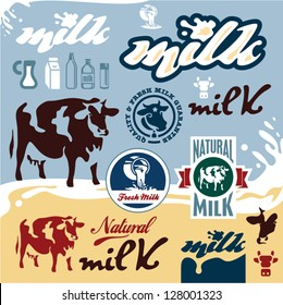 Milk labels set. Cow vector illustration.