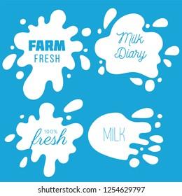 Milk labels vector set. Splash and blot design, shape creative illustration