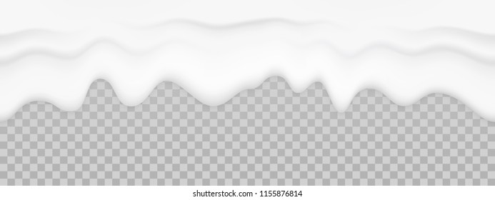 Milk liquid texture. Vector dripping cream yogurt seamless background. Flowing white creamy mayonnaise sauce isolated on transparent background