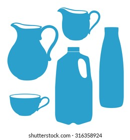 Milk logo in a blue and white. Milk bottle, pitcher, jug, canister vector illustration.