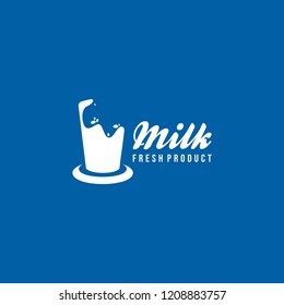 Milk Logo Design Vector. Healthy Fresh Milk Logo Template