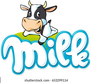 milk logo hand written with cow - vector illustration