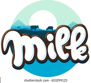milk logo hand written with cow silhouette - vector illustration