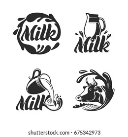 Milk logo, icon or badge. Vector set for milk store and shop with cow and jug.
