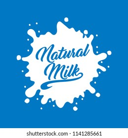 Milk Logo and Labels Designs. Vector white milk logo template on blue background