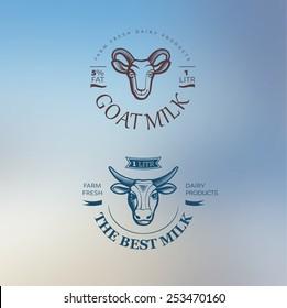 Milk logos on blur background. Vector