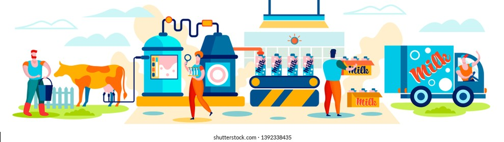 Milk Manufacturing Farm Production Industry, Stage Process on Conveyor, Dairy Food Machine Plant. Products Industrial Management. Woman Test Beverage Quality in Flasks Cartoon Flat Vector Illustration
