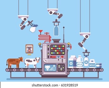Milk manufacturing, stage processing on conveyor, dairy products industrial management vector concept