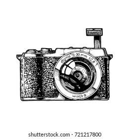 MILK. Mirrorless interchangeable lens camera with raised Pop-Up flashe. Vector hand drawn sketch of photocamera in vintage engraved style on white background.