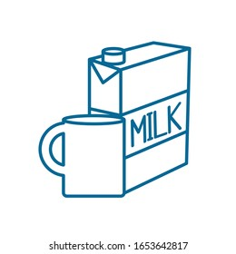 milk mug and box line style icon design, Drink dairy beverage breakfast fresh natural healthy product and calcium theme Vector illustration