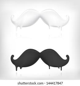 Milk mustache and dark chocolate mustache creative concept.  Barber logo template design.