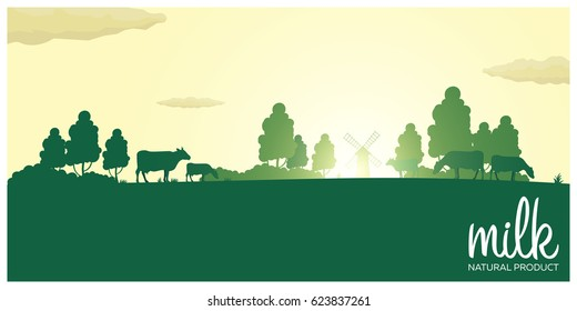 Milk natural product. Rural landscape with mill and cows. Dawn in the village