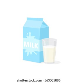Milk pack and glass. Healthy drink isolated on white.