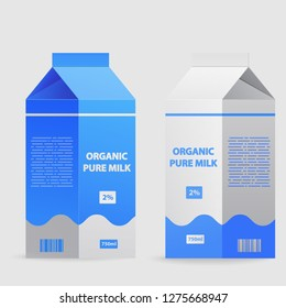 Milk package with screw cap.Splash of milk,Packaging carton organic farmer drink.Horizontal banner design concept flat vector.