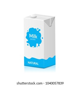 Milk packet isolated on white background. Vector illustration of carton pack. Paper box design for drink milk product.