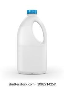 Milk plastic bottle isolated on white