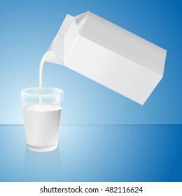 Milk poured out of a milk carton. Vector.