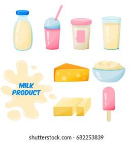 milk produckt cartoon set on a white background.Vector Food milk, yogurt, cheese, butter, milkshake, ice cream.