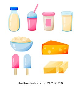 Milk produckt set on a white background. Vectro food milk produckt, cheese, yogurt, butter,ice cream