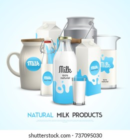 Milk product background with realistic images of branded milk packaging of different shape with editable text vector illustration