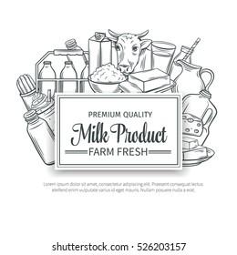 Milk product banner. Hand drawn milk vector icons set.
