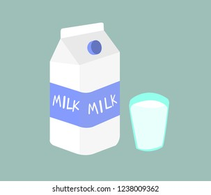 Milk is the product of cows there are many benefits. Picture of milk and glass of milk on green background.