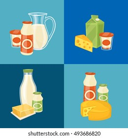 Milk products banner with dairy composition vector illustration. Milk products vector isolated. Healthy nutritious concept with butter, milk, yogurt, cheese, cream. Milk products icon. Organic food.