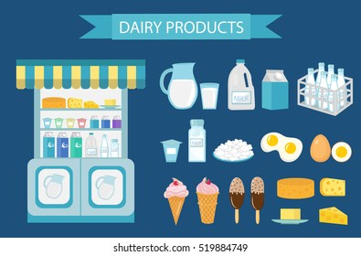 Milk products icon set, flat style. Milk products isolated on white background. Milk and cheese showcase, store shelf. Farm foods. Vector illustration
