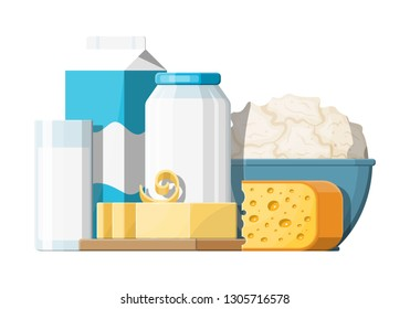 Milk products set with cheese, cottage and butter. Dairy food. Tradicional fresh farm products. Vector illustration in flat style