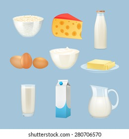 Milk products set with eggs cheese and cream isolated vector illustration