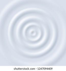 Milk ripple. Circle waves yogurt cream. Close up top view white milk circular ripples vector texture